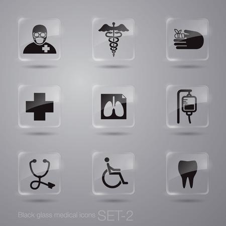 caduceus symbol: Black medical icons on various glass button. Illustration