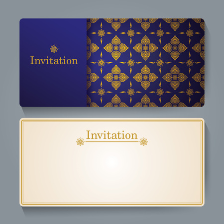 thai silk: Invitation card design, Thai art background.