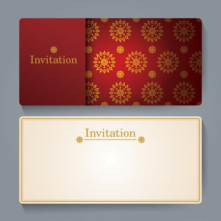 Invitation card design, Thai art background.