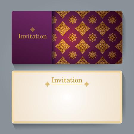 Invitation card design, Thai art background. Vector