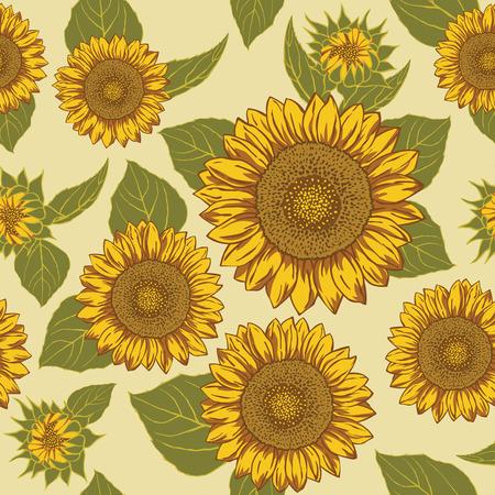 Sunflower seamless background pattern vector.