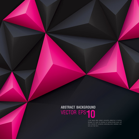 Pink and black vector geometric background.