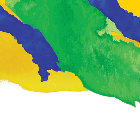 Water color background in Brazil flag concept. 일러스트