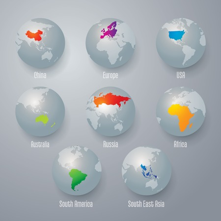 asia pacific map: world map globe. Illustration