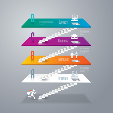 stairs: Abstract 3D digital illustration Infographics. Illustration
