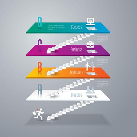 escalera: Resumen ilustraci�n digital en 3D Infograf�a. Vectores