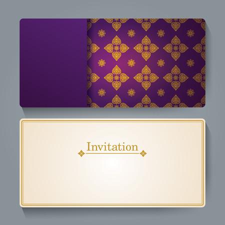thailand silk: Invitation card design, Thai art background.