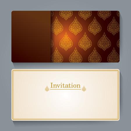 tarjeta de invitacion: Diseño de tarjeta de invitación, tailandés fondo de arte. Vectores