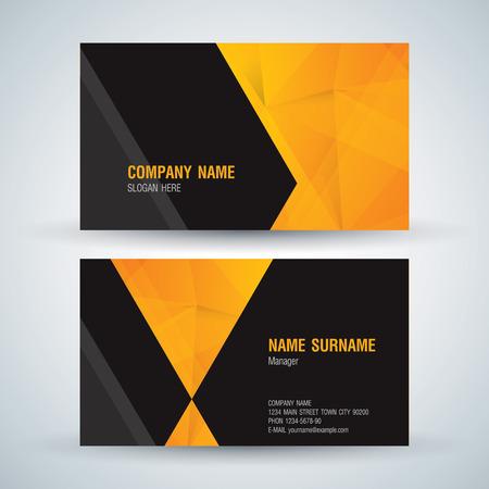yellow black: Plantilla de tarjeta de visita. Tarjeta conocida fondo abstracto. Vectores