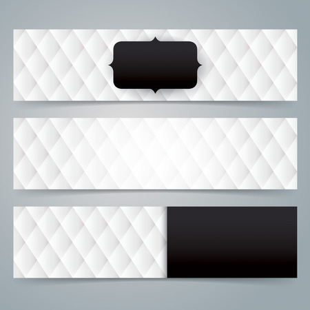 コレクションのバナー デザインは、黒と白の装飾背景。