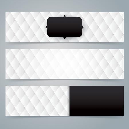 Verzameling banner ontwerp, zwart en witte bekleding achtergrond. Stock Illustratie