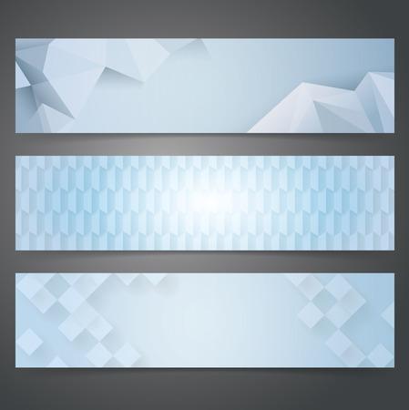 arte abstracto: Dise�o de banners Colecci�n, Fondo geom�trico azul. Vectores