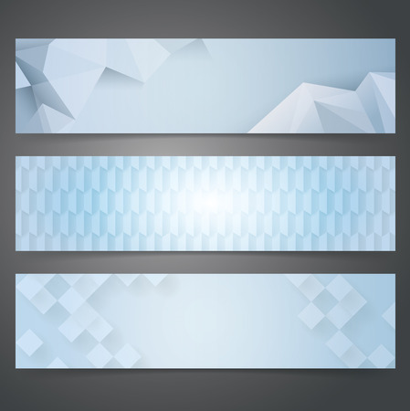 Collection banner design, Blue geometric background. Illustration