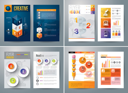 graphic presentation: Set of Flyer, Brochure Design Templates.