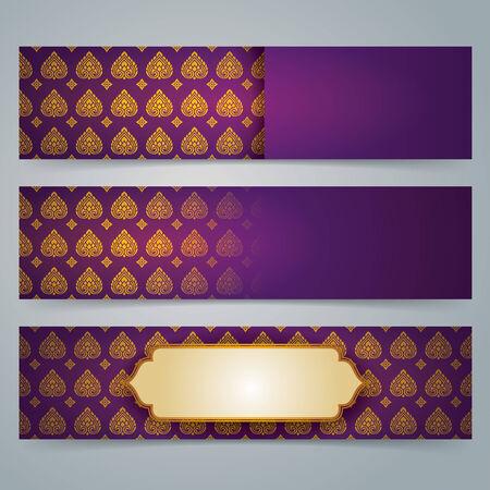 seta thailandese: Banner design Collection, asiatico arte. Vettoriali
