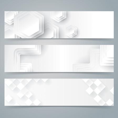 polygons: Collection banner design, white background. Illustration