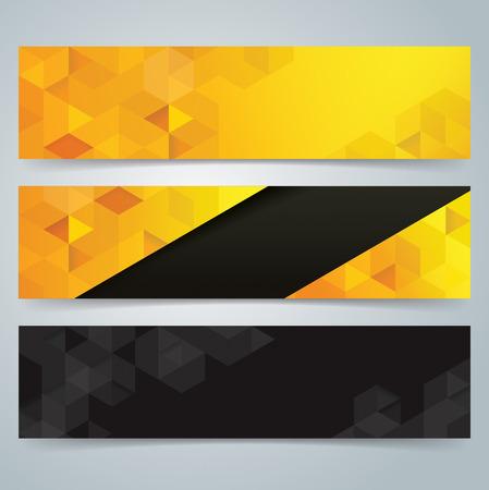 amarillo y negro: Dise�o de banners Colecci�n, Fondo geom�trico.