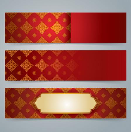 thailand silk: Collection banner design, Asian art background.