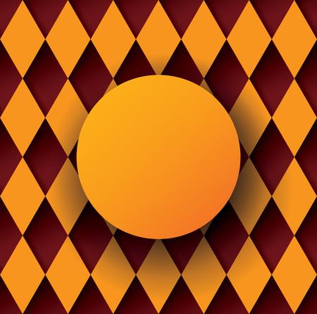 diamond shape: Orange round frame on diamond shape background. Illustration