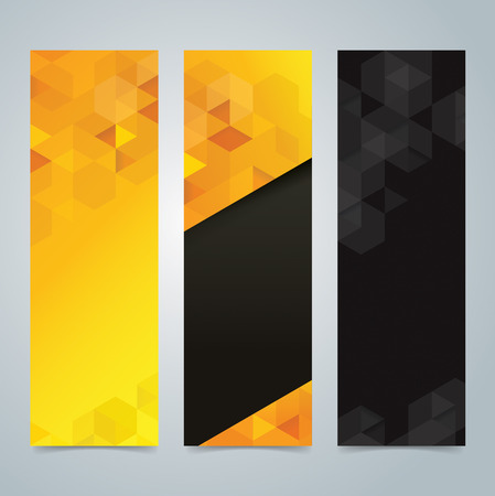 vertical: Collection banner design, yellow and black background.