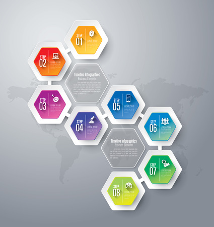 hexagon background: Abstract 3D digital illustration Infographics. Illustration