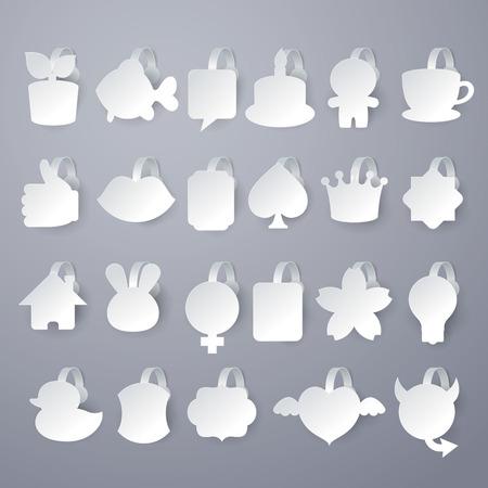wobbler: 23 design of vector white wobbler on gray background. Illustration