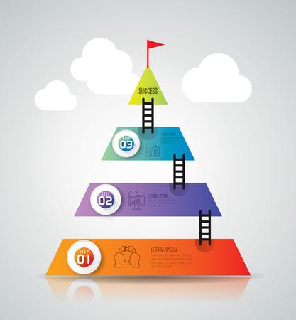 pyramid: Infographics vector design template.