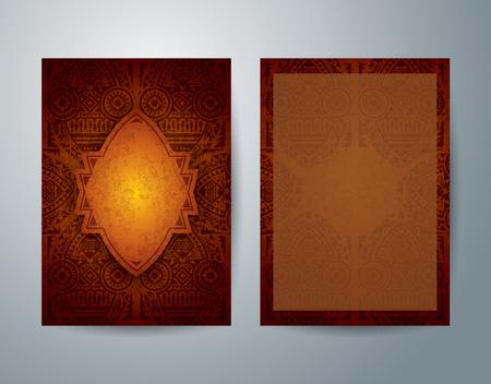 arte africano: �frica folleto arte plantilla de dise�o flyer vector.