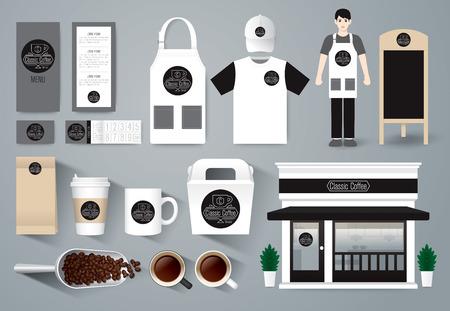 delantal: Diseño vectorial restaurante café establecer la identidad corporativa maqueta plantilla. Vectores