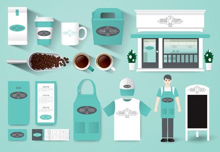 apron: Vector restaurant cafe design set corporate identity mock up template. Illustration