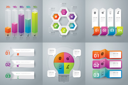 four: Infographic design template and marketing icons. Illustration