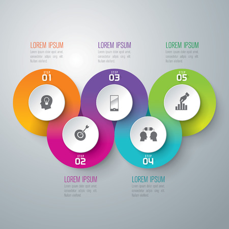 process chart: Infographic design template and marketing icons. Illustration