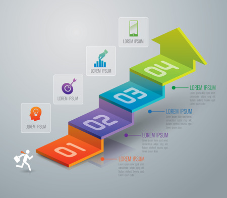 numeros: Infografía plantilla de diseño y comercialización de iconos.