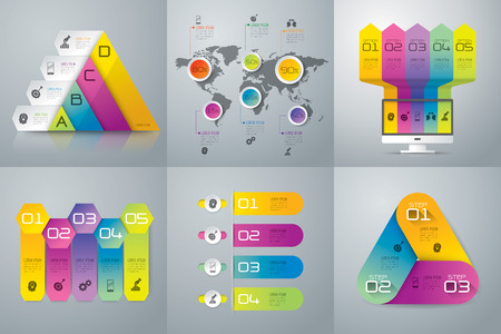 hexagons: Infographic design template and marketing icons. Illustration