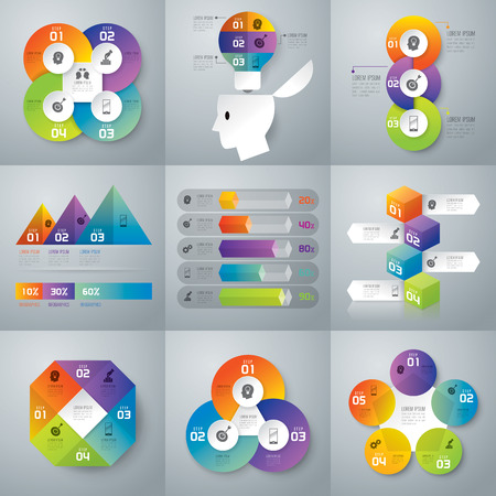 business symbols: Infographic design template and marketing icons. Illustration