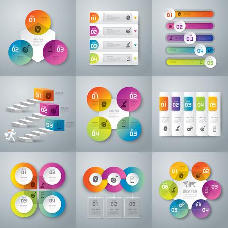 Infografica modello di progettazione e di marketing icone.