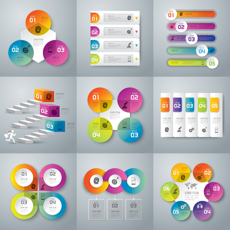 of computer graphics: Infographic design template and marketing icons. Illustration