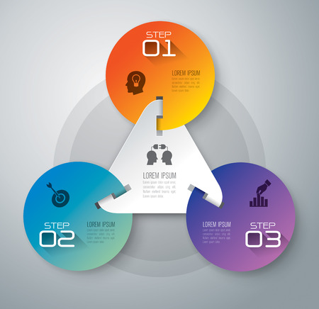 3d circle: Infographic design template and marketing icons. Illustration