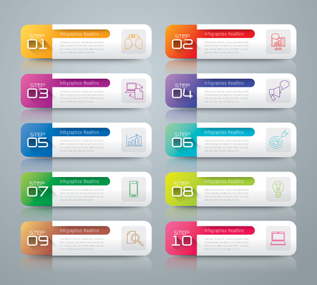 10 number: Infographic design template and marketing icons. Illustration