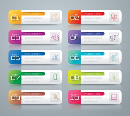 num�ros: Infographie mod�le de conception et de commercialisation ic�nes. Illustration