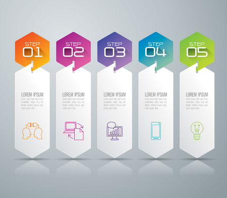 number 5: Infographic design template and marketing icons. Illustration