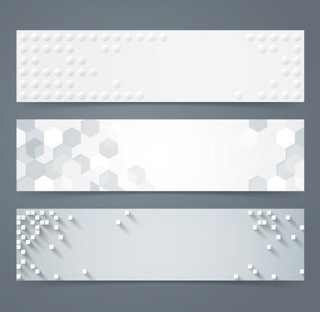 fondo geometrico: Colección de geométrica bandera blanco.