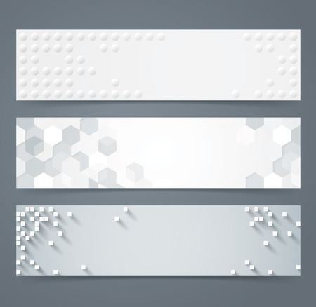 header label: Collection of geometric background banner.