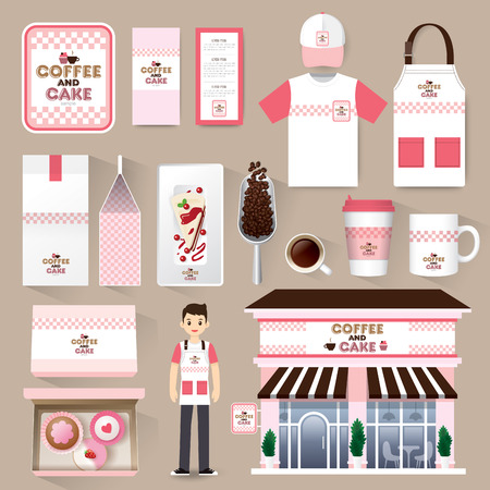 corporate buildings: Vector restaurant cafe set. Layout set of corporate identity mock up template.