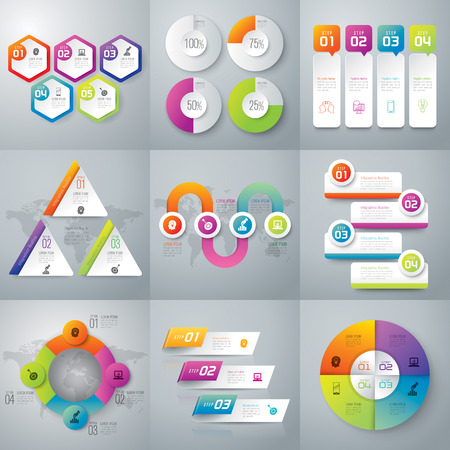 four objects: Infographic design template and marketing icons. Illustration