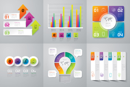 Infographic design template and marketing icons. Çizim