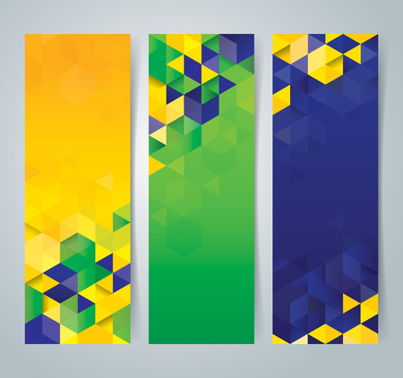blue and green: Collection banner design, Brazil flag color background, vector illustration.