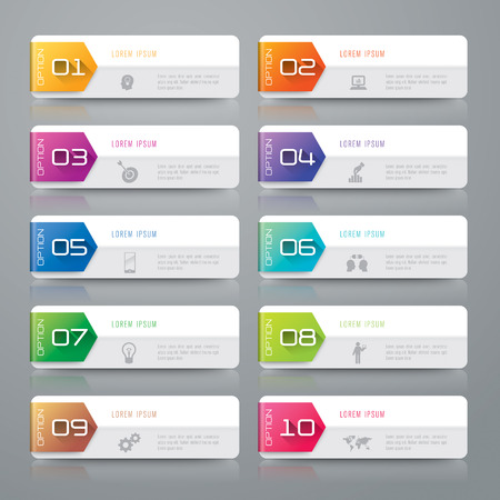 digital numbers: Infographic design template and marketing icons. Illustration