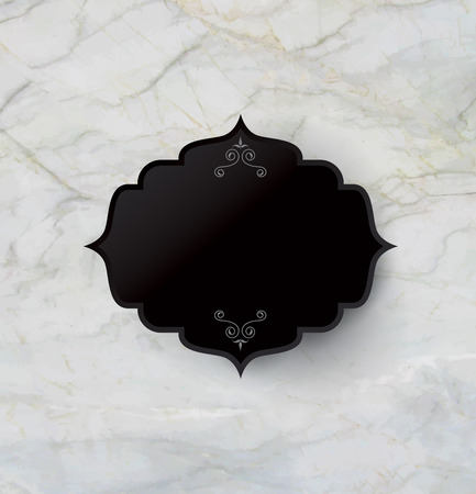 black stone: Vintage frame on rock texture background. Illustration