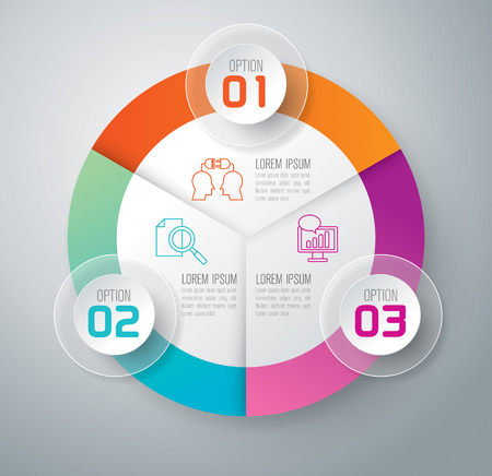 three: Infographic design template and marketing icons. Illustration